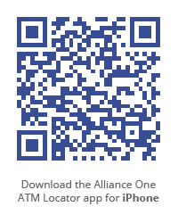 QR Code: download the Alliance One ATM Locator app for iPhone