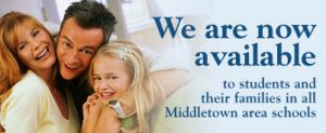 We are now available to students and their families in all Middletown area schools.